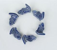 Ceramic ChopStick/ Pen Rests Hand Made Set of 6 Koi