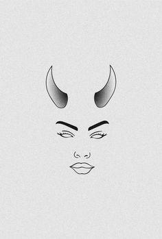 Femme Fatale Mini Art Print by bboo Demon Drawings, Trippy Drawings, Mini Drawings, Cute Easy Drawings, Dark Art Drawings, Pencil Art Drawings, Art Drawings Sketches, Tattoo Drawings, Hipster Drawings