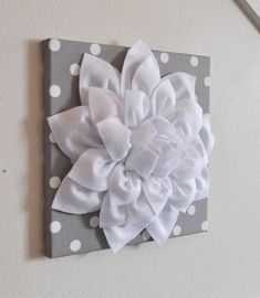 "Flower Wall Decor -White Dahlia on Gray and White Polka Dot 12 x12"" Canvas Wall Art- Baby Nursery Wall Decor-"