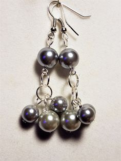 Dove Gray Two Toned Glass Pearl Earrings