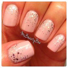 Glitter Gradient Nails.  Gelish - Pink Smoothie & Am I Making You Gelish?