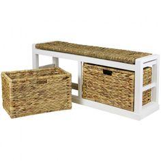 Wide Storage Bench with Wicker Cushion Designer Ideas Storage Bench With Cushion, Bench Cushions, Wicker Baskets, Ideas, Design, Home Decor, Interior Design, Design Comics, Home Interior Design