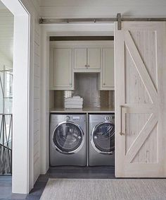 """A beautiful hidden laundry room nook designed by #GeoffChickandAssociates. via: @the_real_houses_of_ig. #""""laundryroomstoragesmallspaces"""""""