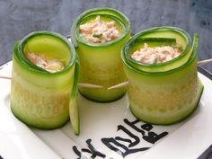 Low carb appetizer recipe from Avocado Pesto: Salmon Cucumber Rolls.