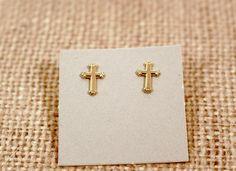 Avon Gold Tone Small Cross Pierced Earrings Vintage by FrogTears on Etsy