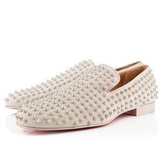 cf44c193fae51 White Louboutin spike loafers. White Louboutin, Black Christian Louboutin,  Mocassins Men, Mens