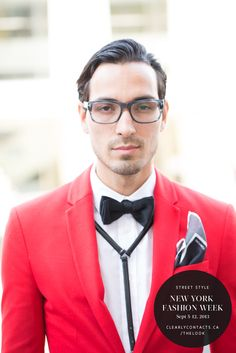 Prim and proper in a bright red #blazer and sleek grey #wayfarer #eyeglasses. #NYFW #MBFW #StreetStyle #theLOOK