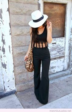 Black jumpsuit design with lace and accessories