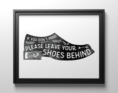 Shoes off sign remove your shoes PRINTABLE art by TheCrownPrints