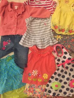 Lot of Cute Little Girl Clothes 9mos to 3T Shorts Tops Dress Jeans 14 Items | eBay