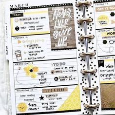 { March 18 } This was originally going to be a brown/neutral kinda spread, but say hello to Happy Lemon who added some brightness Planner Tips, Planner Layout, Goals Planner, Planner Pages, Planner Stickers, Digital Bullet Journal, Planner Organization, Organizing, Mini Happy Planner