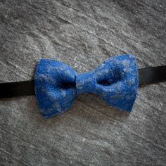 Royal blue pre tied bow tie with grey texture and black suitable for men and women as unisex shabby chic informal handmade gift