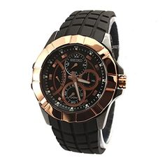 Seiko Chronograph Black Dial Rose GoldTone Stainless Steel Mens Watch SRL072 -- Click on the image for additional details.