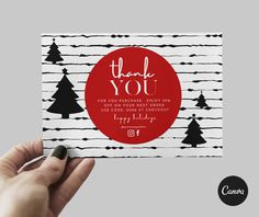 PRINTABLE Holiday I thank you card EDITABLE Thank You Card Size, I Thank You, Thank You Cards, Double Sided Business Cards, Bi Fold Brochure, Certificate Design, Do You Need, Gift Certificates, All Fonts