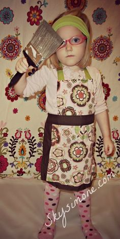 Children's Brown and Pink Pattern Apron by SkySimone on Etsy, #Skysimone