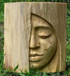 Wood Carvings Brittany Ramos maybe it& just because I just pinning somethin. Wood Carvings Brittany Ramos maybe it& just because I just pinning something for you, but this face reminds me of you. Mackenzie Peterson what do. Wood Carving Faces, Wood Carving Designs, Tree Carving, Wood Carving Patterns, Wood Carving Art, Wood Carvings, Chainsaw Wood Carving, Whittling Wood, Wooden Art