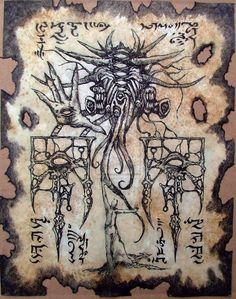 cthulhu larp Gate of Yog Sothoth Necronomicon page occult horror witchcraft dark…