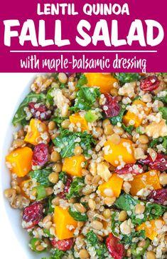 Vegan Quinoa Recipes, Best Vegan Recipes, Fall Recipes, Vegetarian Recipes, Good Healthy Recipes, Whole Food Recipes, Lentil Quinoa Salad, Fall Salad, Roasted Butternut