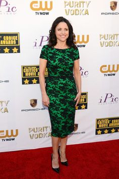 Julia Louis-Dreyfus Cocktail Dress - Julia Louis-Dreyfus went for a classic, ladylike look with this green lace cocktail dress by Reem Acra during the Critics' Choice Awards.