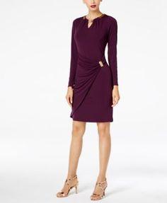 Thalia Sodi Embellished Faux-Wrap Dress, Created for Macy's - Purple XXL