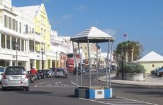 "Front Street, Bermuda. That odd little structure, we call 'The Birdcage' named for its designer, Michael ""Dickey"" Bird - way back when you would find a police officer standing in it directing traffic or giving directions to tourists!"