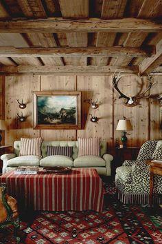 alpine lodge house tour Chalet Design, Chalet Chic, Chalet Style, Alpine Chalet, Swiss Chalet, Swiss Alps, Living Area, Living Room, Ideas