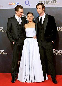 Natalie Portman with her Thor costars, Tom Hiddleston and Chris Hemsworth.