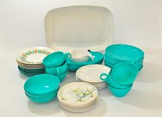 Assorted 50's Melmac Dinnerware in Turquoise and White by edgemere, $58.00