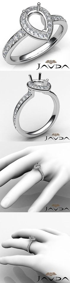 Settings Only 164309: Pear Diamond Halo Pave Setting Engagement 18K White Gold Semi Mount Ring 0.45Ct -> BUY IT NOW ONLY: $1214.1 on eBay!