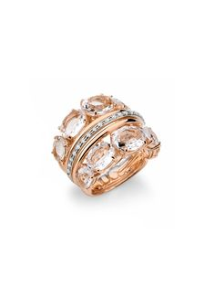 Brumani 18k Gold Diamond and Crystal 5 Row Band - Brumani ladies ring, prec accent 18r/y 10clr crystl=10.40 d=.18tw 5rw bnd