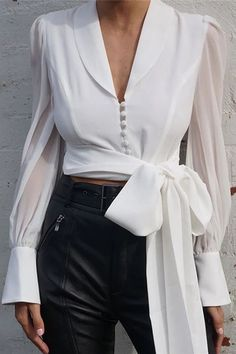 Chiffon Lace Up Long Sleeve Solid White Blouse - OC fashion - Elegante Person Summer Work Outfits, Spring Outfits, Bow Tops, Fashion Outfits, Womens Fashion, Fashion Trends, Blouses For Women, Cheap Blouses, Long Sleeve Tops