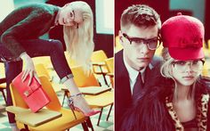 Dsquared 3The School of Dsquared² Teen rebellion in the sixties was the inspiration behind Dean and Dan Caten's amazing fall campaign for DSquared. Shot at London's Ragged School Museum, a good looking group of unruly students are defying all the rules while sporting brushed mohair sweaters, cropped pants, leather gloves, sparkly heels, and wicked cat eye glasses. Disorderly conduct at it's best!