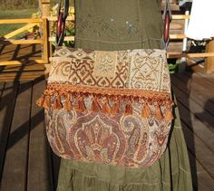 Hippie boho Gypsy Cross Body Fringed Messenger Purse Tote Bag
