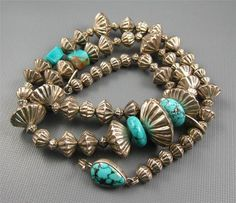 "Fluted Turquoise Bead Necklace. The mid sized beads are often called ""hogan beads."""