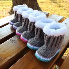Crochet Baby Boots/ Baby Booties/ Fur Trimmed by KKCrochetDesigns