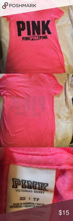 VS Pink v neck tshirt Lightly worn hot pink Victoria's Secret tshirt PINK Victoria's Secret Tops Tees - Short Sleeve