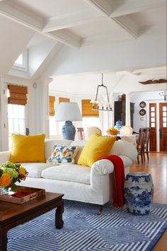 Rooms with Tasteful Pops of Yellow...great ideas for transitioning into spring!
