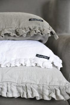 obsessed with grey.wish I knew where these were from. Linen Fabric, Linen Bedding, Bed Linen, Let's Go To Bed, Fabric Stamping, Shabby Chic Farmhouse, Linens And Lace, How To Make Pillows, Bohemian Decor
