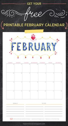 Happiness is... Free Printable February 2015 Calendar and Planner