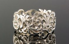 Scroll Style Sterling Silver Ring by thegoldrushgallery on Etsy Avery Jewelry, Bling Wedding, Wedding Rings, Filigree Ring, Anniversary Bands, Photo Jewelry, White Gold Rings, Beautiful Rings, Fashion Rings