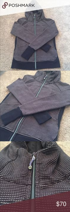 Lululemon Unique Pattern Zip Up Hooded Jacket One of a kind Lululemon heavy duty zip up yoga jacket. The jacket is navy blue with an awesome dot pattern. The zipper is super unique color and gloss. Size 6 in mint condition lululemon athletica Jackets & Coats Utility Jackets