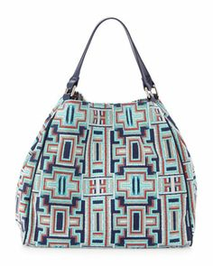 Maze-Print Trapezoidal Satchel Bag, Midnight by Neiman Marcus at Last Call by Neiman Marcus.