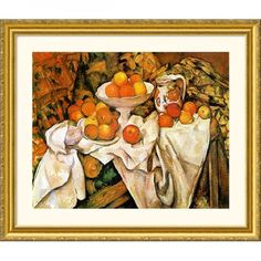 Great American Picture Pommes et Oranges (Apples and Oranges) Gold Framed Print - Paul Cezanne - 150