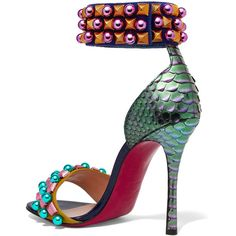 Christian Louboutin Tudor Bal 100 embellished suede and python sandals ($1,120) ❤ liked on Polyvore featuring shoes, sandals, multi colored sandals, embellished sandals, ankle strap shoes, multi color shoes and multi color high heel sandals
