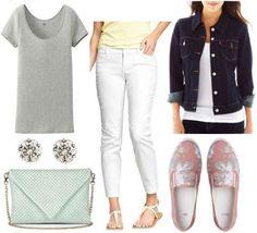 Pink floral sneakers, grey shirt, white pants, denim jacket, mint bag, crystal earrings