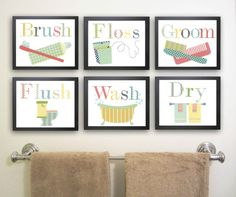 Kids Bathroom Art. Bathroom manners, Set of 6 prints for Children's Bathroom.  Brush your teeth, Flush the toilet.  Bathroom nursery art.