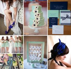 Navy and Mint Wedding Inspiration. I was teetering between classic navy and white and mint and gold. This may be the answer to my problems!!!