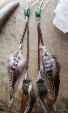 turquoise and leather feather earrings // boho by SpiritTribe, $36.00