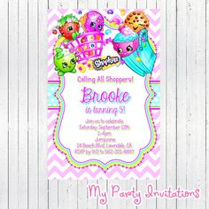 Shopkins Birthday Invitation, Digital File, Printable, Calling all shoppers, Party Invite, Personalized, Printing Available, Invites