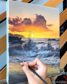 An easy ocean wave acrylic painting :) Have you painted this one? Would love to see! All acrylic painting materials are available on my website colorbyfeliks.com Acrylic Painting Tips, Acrylic Painting For Beginners, Painting Techniques, Canvas Painting Tutorials, Painting Videos, Landscape Art, Landscape Paintings, Ocean Crafts, Funky Art